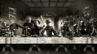 135950 The Last Supper Freddy Jason Horror Movie FRAMED CANVAS PRINT Toile