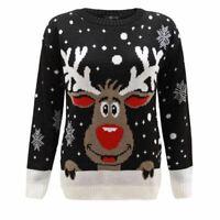 Xmas Christmas Jumper Sweater Men Ladies Women Knitted Reindeer Rudolph 20 22