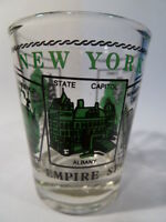 NEW YORK SCENERY GREEN SHOT GLASS SHOTGLASS