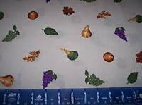 FRUIT VEGETABLE GRAPES SQUASH LEAVES COTTON FABRIC
