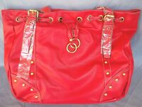 Large Leather Look Red Tote or Shoulder Bag with Stud Detail