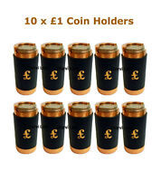 10 x New £1 Pound Black Leather Coin Holders Dispensers