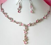 SILVER TONE PINK CRYSTAL NECKLACE & EARRINGS SET
