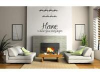 HOME WHERE STORY BEGINS Wall Art Vinyl Decal Home Decor