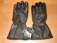Mens Motorcycle Gauntlet Leather Insulated Winter Gloves  Visor Wiper  on index