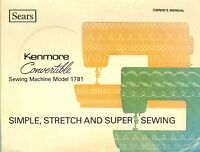 Kenmore 1781 Model Convertible Owner Manual on Cd in pdf format