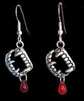 Bite Me~True Gothic~VAMPIRE BLOOD FANG BANGER EARRINGS~Halloween Costume Jewelry