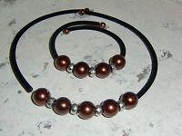 edle Kette und Armband  braun schwarz Collier Perlen Größe variabel