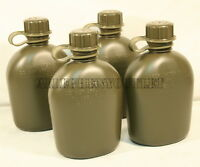 4 NEW, US MILITARY 1 QUART HARD PLASTIC CANTEEN, OD GREEN, 4 PACK BPA FREE