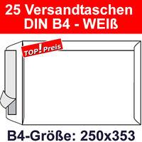 25 Versandtaschen ohne Fenster, DIN B4, Haftklebung, Weiß, 120g, Briefumschläge