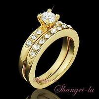 2028 Size7 9K 9ct GOLD Plated WEDDING ENGAGEMENT RING SET SWAROVSKI CRYSTAL