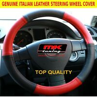 FORD FOCUS MONDEO KA S-MAX KUGA RED / BLACK ITALIAN LEATHER STEERING WHEEL COVER