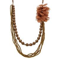 COLLIER SAUTOIR idée cadeau ou soirée - multirang perles et fleurs tissu MARRON