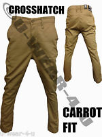 """MENS CROSSHATCH CARROT FIT CHINO TROUSERS. FROM SIZES 28"""" TO 36""""."""