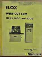Elox 2000 3000 Wire Cut EDM Instruction Manual