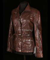 Natasha Brown Ladies Women's Safari Style Vintage Look Real Waxed Leather Jacket