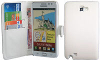 Extra Fine White Leather Wallet Flip Case Cover Samsung Galaxy Note i9220 N7000