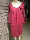 Women's Newport News Burgundy Knit Pleated Neckline Fabric Rosettes Dress M
