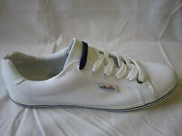 MENS ELLESSE CANVAS TRAINERS WHITE AND NAVY BLUE