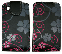 Multicoloured Flowers Fancy Leather Case Cover for BlackBerry Curve 9300 8520