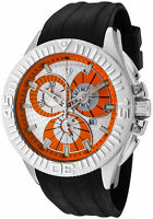 SWISS LEGEND Men's Evolution Chronograph Silver Textured Dial Black Rubber watch