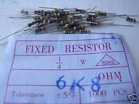 Resistors 6.8k Ohms 1/4W 5% Carbon Film 1000pcs