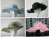 Womens Kentucky Derby Vintage Flower Sun Hat Wide Brim Wedding Church Racing A01