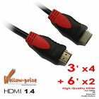 Lot 6 Pack - 4x 3FT + 2x 6FT HDMI 1.4 Cable Blu-Ray 3D PS3 HDTV XBOX LCD 1080p