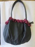 LADIES BULAGGI HANDBAG BLACK AND PINK WITH FRILLS