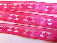"""25 yard Roll Butterfly Flower 6/8"""" Satin Ribbon/Garlands/Trim/Craft R165-Fuchsia"""