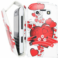 Fancy Love Heart Design Leather Flip Pouch Case Cover for BlackBerry Bold 9790