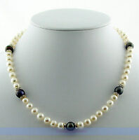 "7-Stone 17"" 7mm Freshwater White & Black Pearl Necklace 