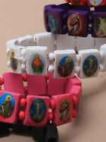 Saints Catholic Christian Jesus Wooden Wood Bracelets 2991 mens ladies stretch