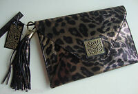 BIBA Black & Gold Animal Print Leather Clutch Bag BNWT
