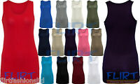 Womens Racer Back Top Ladies Bodycon Stretch T-Shirt Long Muscle Vest 8 10 12 14