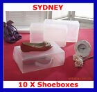 10 x Clear Plastic Shoe Storage Organiser Boxes NEW
