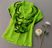 SATIN Ruffle  blouse ys061  PLUS1X2X3X4X5X6X7X8X9X10X(size16-52)