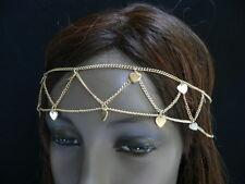 NEW WOMEN SMALL GOLD METAL HEARTS 2 ROWS HEAD CHAIN FASHION JEWELRY GRECIAN