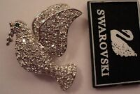 Signed Swan Swarovski Rhodium Plated  Pave' Dove Brooch Pin NEW