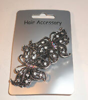 **NEW** BARRETTE VINTAGE CRYSTAL FLOWER BUTTERFLY - HAIR CLIP SLIDES ACCESSORIES