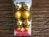 16 x Gold Christmas Tree Baubles Christmas Xmas Decorations