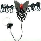 BRACELET gothique NOIR et ROUGE Dentelle papillon strass + BAGUE réglable fleur