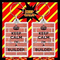 KEEP CALM IM A BUILDER NOVELTY LARGE KEYRING
