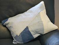 Hand Sewn Recycled Jeans Denim Patchwork Cushion Cover 58x40cm (Ref-Sleeves)