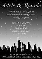 10 Personalised Wedding Day Evening Invitations Invite New York Skyline Sky Line