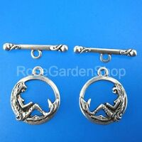 100sets 16mm antiqued silver mermaid toggle clasps G213