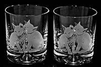 *CAT GIFT* Pair Glass Whisky Tumblers with engraved TWO CATS designs, BNIB