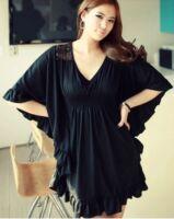 Sexy Bat sleeves lace dress LS302 PLUS size 1X2X3X4X5X6X7X8X9X10X(size16-52)