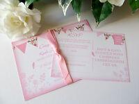 Sample Vintage Shabby Chic Wedding Invitation Day Evening Bird Bunting RSVP Pink