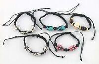 5Pcs Mixed colour Skull beaded adjustable Bracelets #20988